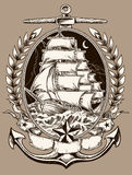 Tattoo Style Pirate Ship In Crest Royalty Free Stock Photos