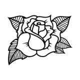 Tattoo style rose illustration on white background. Design elements for logo, label, emblem, sign. Vector illustration Royalty Free Stock Images