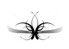 Tattoo with stylish wings. Royalty Free Stock Image