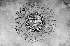 Tattoo sun face illustration, handmade Royalty Free Stock Images