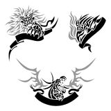 Tattoo with templates. Three tattoos (a lion, an eagle and a dragon) with templates for text Royalty Free Stock Image