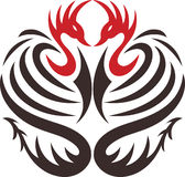 Tattoo of two decorative birds. Two phoenix birds with dragon tail vector illustration