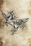 Tattoo unicorn sketch, handmade design Stock Photo