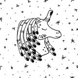 Tattoo unicorn in space art pattern vector. Hand Drawn Black and White Simple Tattoo Doodle unicorn pattern in Kids Style. Surreal Background Vector for textile Stock Image