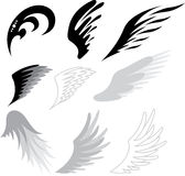 Tattoo wings. Tattoo bird or angel wings vector illustration Royalty Free Stock Photography