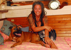 Tattoo woman and dog Royalty Free Stock Images