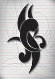 Tattoo writing on paper lined note.  Royalty Free Stock Photography
