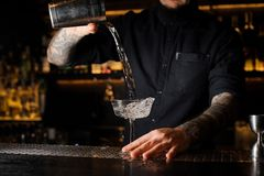 Tattooed bartender pouring an alcoholic drink from the steel shaker to the glass. Tattooed bartender pouring an alcoholic drink from the steel shaker to the royalty free stock image
