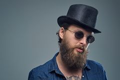 Tattooed bearded male in sunglasses and top hat. Studio portrait of stylish bearded male with a tattoo on his chest, dressed in a denim shirt, cylinder hat and Royalty Free Stock Photography