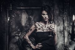 Tattooed beautiful woman Royalty Free Stock Photo