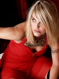 Tattooed Blonde Model Royalty Free Stock Photography