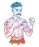 Vintage tattooed retro boxer fighter champion. Tattooed boxer fighter, player in vintage style fighting with bare fists. Traditional tattoo style retro poster Royalty Free Stock Photo