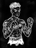 Vintage tattooed retro boxer fighter champion. Tattooed boxer fighter, player in vintage style with fighting with wrapped knuckles. Traditional tattoo style Stock Images