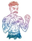 Vintage tattooed retro boxer fighter champion. Tattooed boxer fighter, player in vintage style with fighting with wrapped knuckles. Traditional tattoo style Royalty Free Stock Photos