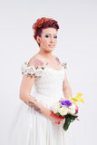 Tattooed bride portrait Royalty Free Stock Image