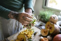 Tattooed hands holding vegetables cooking in the kitchen royalty free stock photo