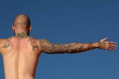 Tattooed man. Back of a tattooed man Stock Photo
