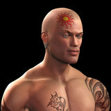 Tattooed man. Illustration of the head and shoulders of a tattooed man Stock Photos
