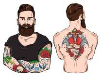 Tattooed Man Character Set Royalty Free Stock Photo