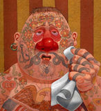 Tattooed man with cold. Humorous illustration of tattooed man with cold or allergies and  a very sore nose Royalty Free Stock Images
