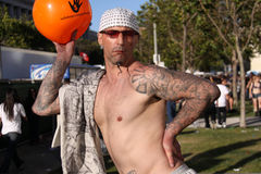 Tattooed Man at San Francisco Pride Stock Images