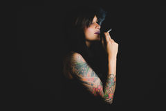 Tattooed sensual woman Royalty Free Stock Images