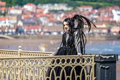 Tattooed young lady in goth dress on pier stock photography
