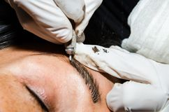 Tattooing permanente da composição das sobrancelhas O Cosmetologist que aplica o permanent compõe nas sobrancelhas fotografia de stock