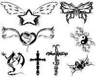 Set of Tattoos with different subjects Stock Photos