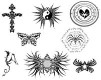 Set of Tattoos with different subjects Royalty Free Stock Photography