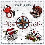Tattoos. Vector set of tattoos  on light background Stock Photos