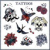 Tattoos. Vector set of tattoos on light background Royalty Free Stock Photography