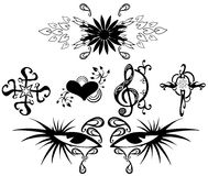 Set of Tattoos in black isolated Royalty Free Stock Photo