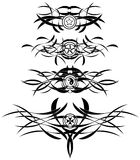 Tattoos in black with different symbols Royalty Free Stock Photo