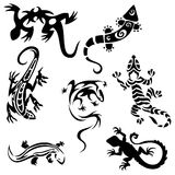 Tattoos lizards (collection) seven silhouettes Stock Image
