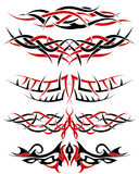 Tattoos set. Black with red patterns of tribal tattoo for design use Stock Photography