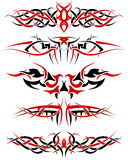 Tattoos set. Black with red patterns of tribal tattoo for design use Royalty Free Stock Photo