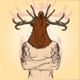 Tattoos Tattooed a man with a deer's head Picture Royalty Free Stock Photo