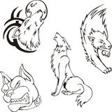 Tattoos - wolves and dog Stock Images