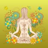 Tatuaż dziewczyna w lotos pozie z kwiecistym tłem ilustracja wektor