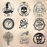 Tatuaż starej szkoły studia czaszka Zdjęcia Stock