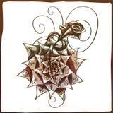 Tatuaż Wzrastał Starej szkoły róży tatuaż z faborkiem i słowo mamą Odosobniona wektorowa ilustracja Obrazy Stock