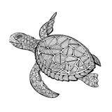 Tatuażowy denny żółw ilustracji