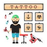 Tatuażu artysty mistrz w salonie ilustracja wektor