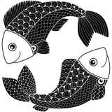 Tatuażu styl Sylwetka strzała i łęk odizolowywający na białym tle szyldowy Pisces zodiak Ryba abstrakcyjny tło Obraz Royalty Free
