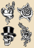 Tatuaż ilustraci Wektorowy set Fotografia Stock