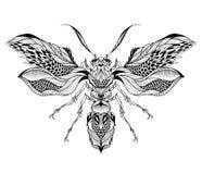 Tatuagem da abelha/vespa psicadélico, estilo do zentangle Imagem de Stock Royalty Free