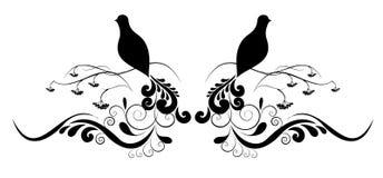 Tatuagem da flor e do pássaro ilustração do vetor