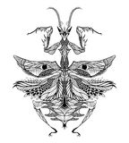 Tatuagem da louva-a-deus psicadélico, estilo do zentangle Fotos de Stock Royalty Free