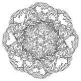 Tatuagem da mandala A nuvem decorativa encaracolado do estilo retro com chuva deixa cair Elemento decorativo para cópias de matér Imagem de Stock Royalty Free
